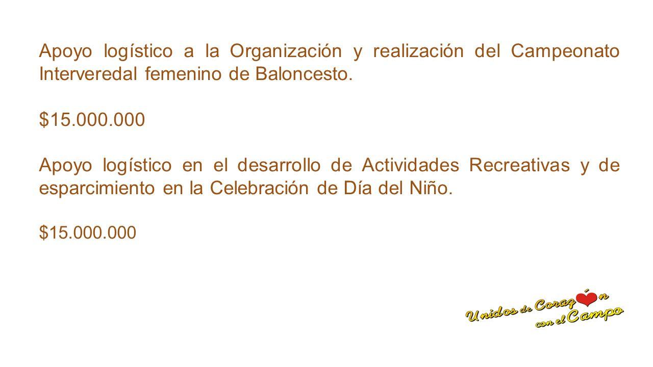 Apoyo logístico a la Organización y realización del Campeonato Interveredal femenino de Baloncesto.