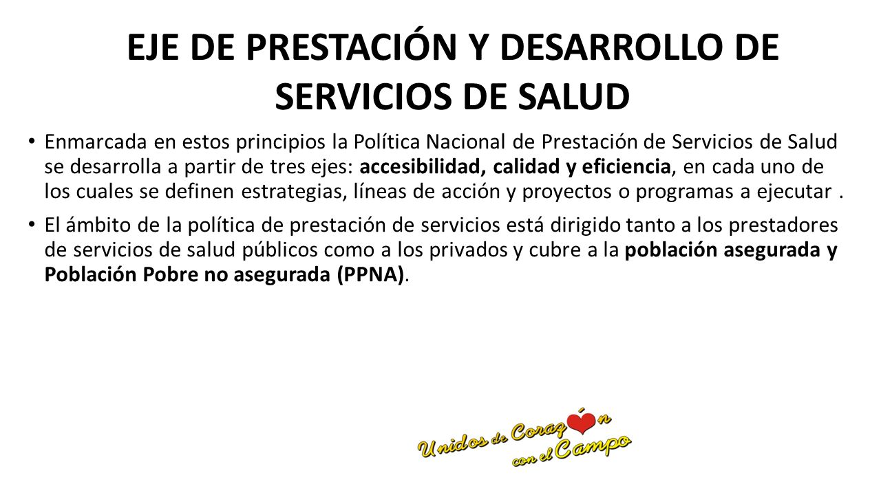 EJE DE PRESTACIÓN Y DESARROLLO DE SERVICIOS DE SALUD