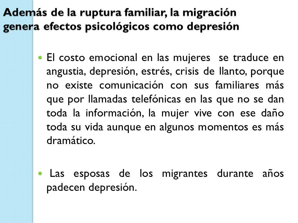 Además de la ruptura familiar, la migración genera efectos psicológicos como depresión