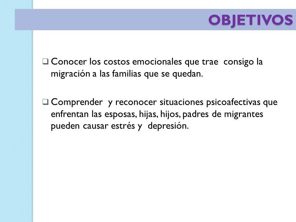 OBJETIVOS Conocer los costos emocionales que trae consigo la migración a las familias que se quedan.
