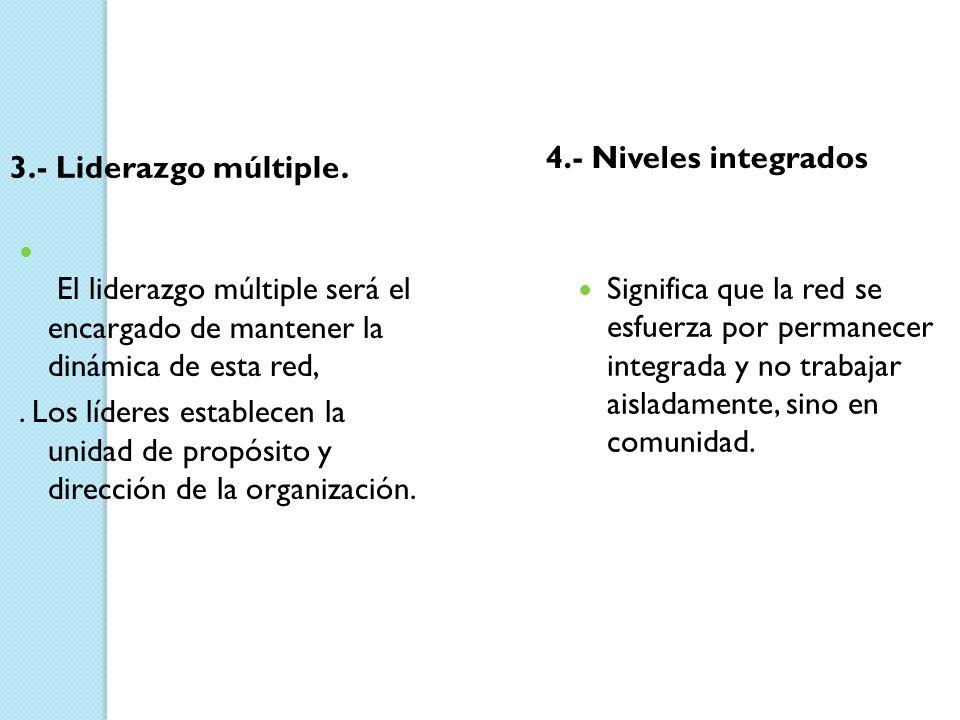 4.- Niveles integrados 3.- Liderazgo múltiple. El liderazgo múltiple será el encargado de mantener la dinámica de esta red,