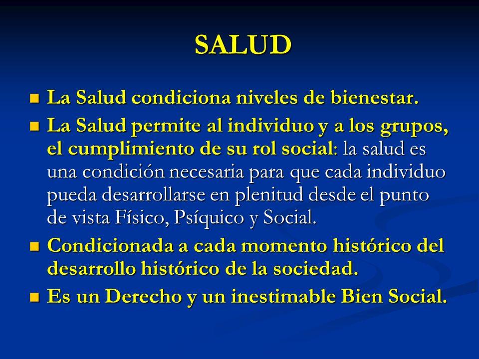 SALUD La Salud condiciona niveles de bienestar.