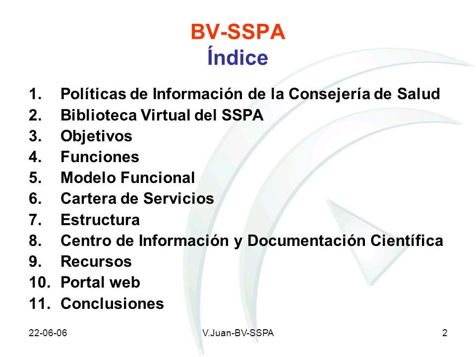 BV-SSPA Índice Políticas de Información de la Consejería de Salud