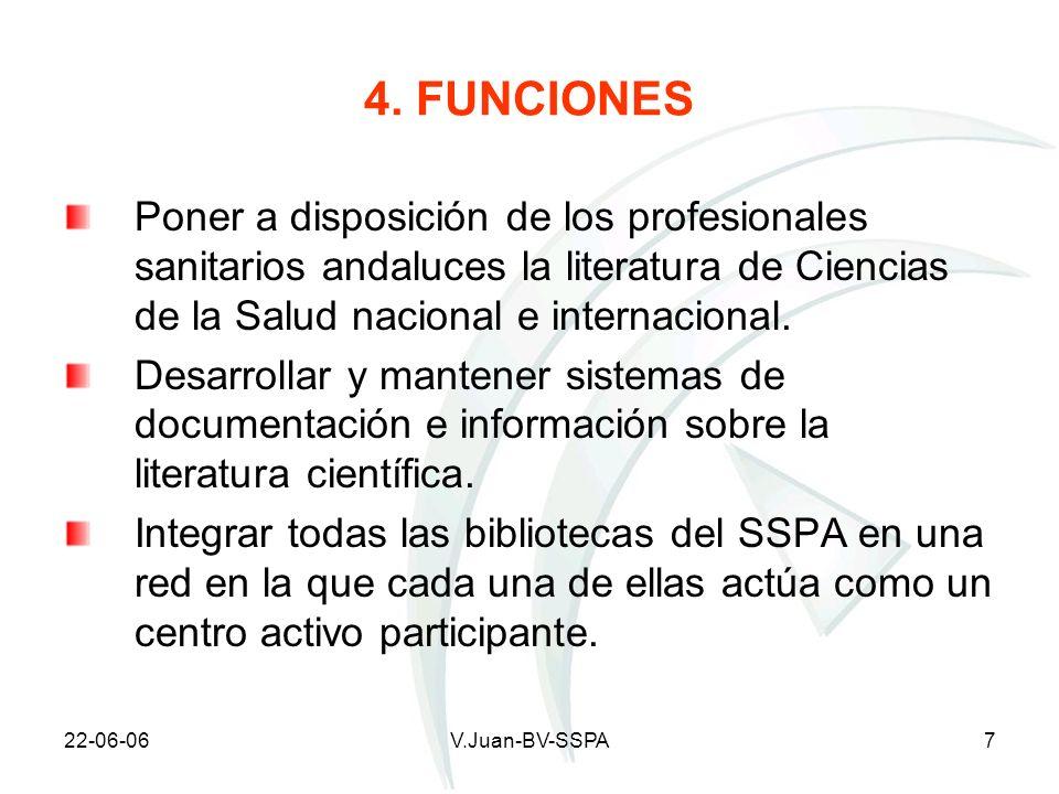 4. FUNCIONES Poner a disposición de los profesionales sanitarios andaluces la literatura de Ciencias de la Salud nacional e internacional.