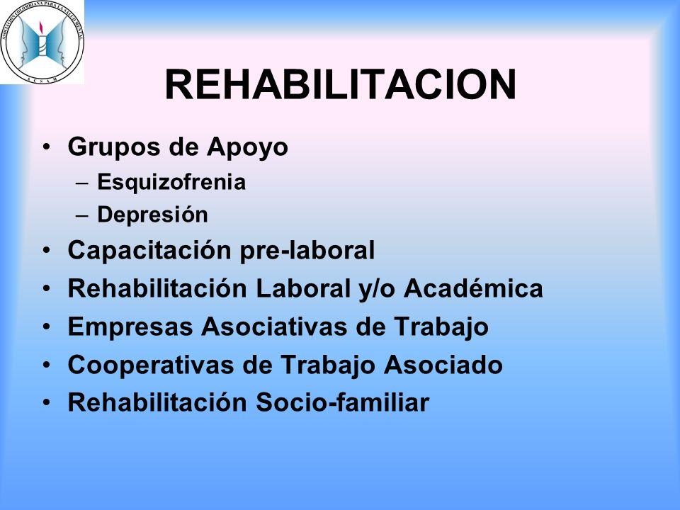 REHABILITACION Grupos de Apoyo Capacitación pre-laboral
