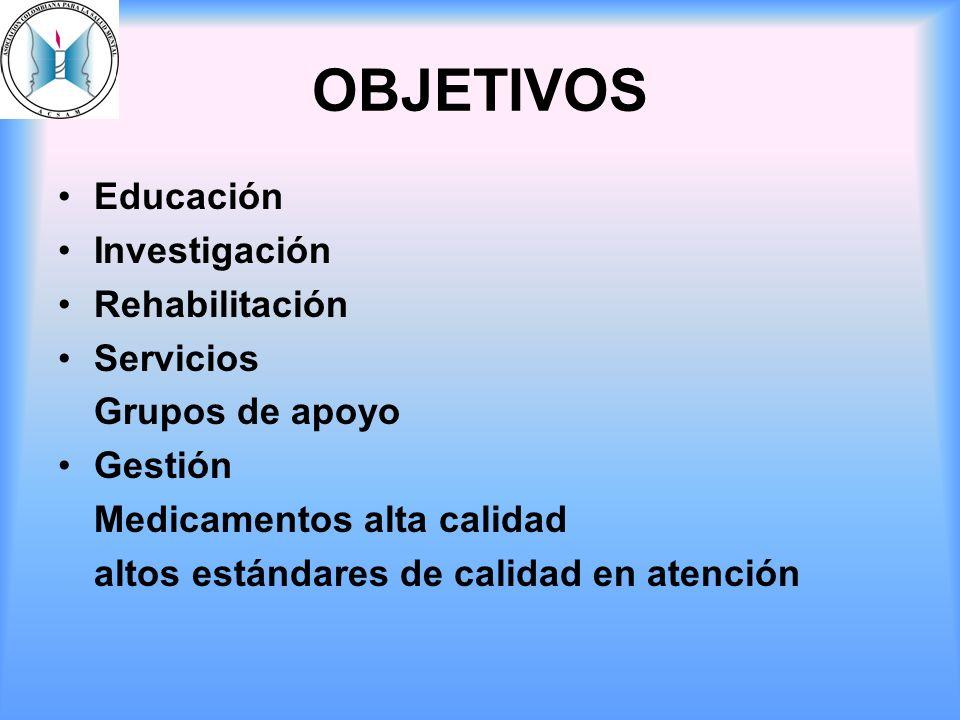 OBJETIVOS Educación Investigación Rehabilitación Servicios