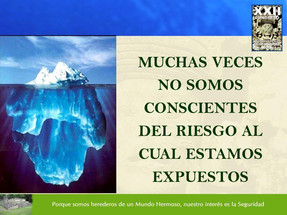 MUCHAS VECES NO SOMOS CONSCIENTES DEL RIESGO AL CUAL ESTAMOS EXPUESTOS