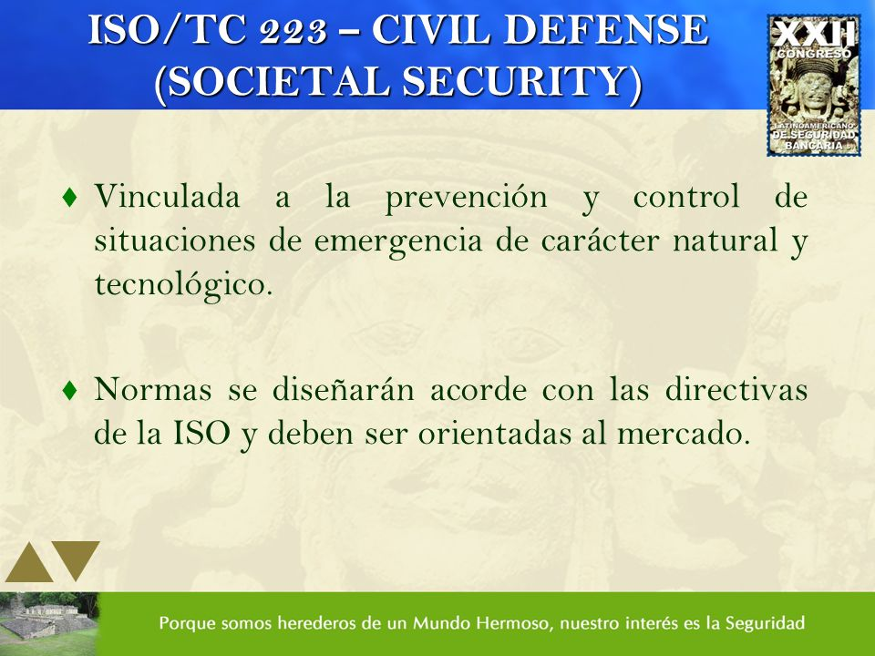 ISO/TC 223 – CIVIL DEFENSE (SOCIETAL SECURITY)