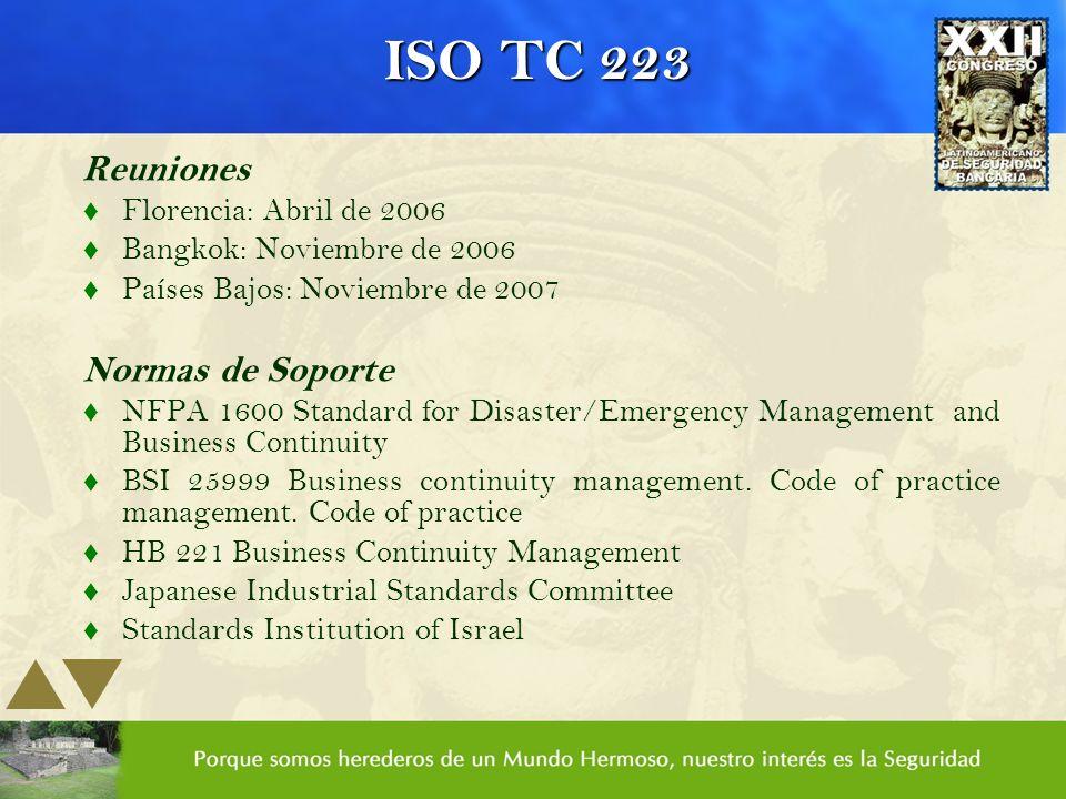 ISO TC 223 Reuniones Normas de Soporte Florencia: Abril de 2006