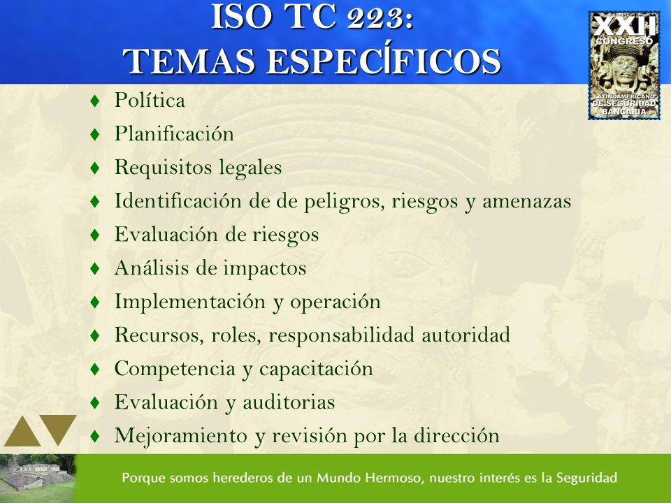 ISO TC 223: TEMAS ESPECÍFICOS