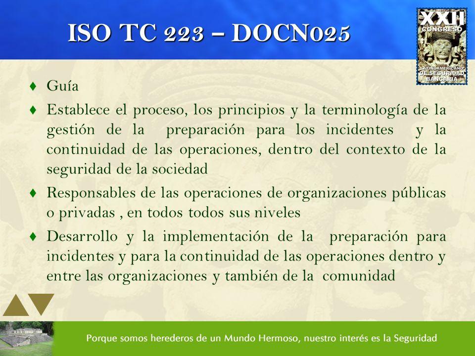 ISO TC 223 – DOCN025 Guía.