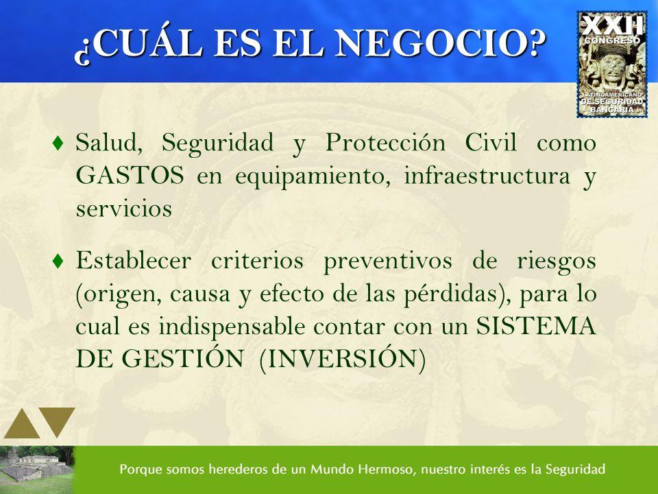 ¿CUÁL ES EL NEGOCIO Salud, Seguridad y Protección Civil como GASTOS en equipamiento, infraestructura y servicios.
