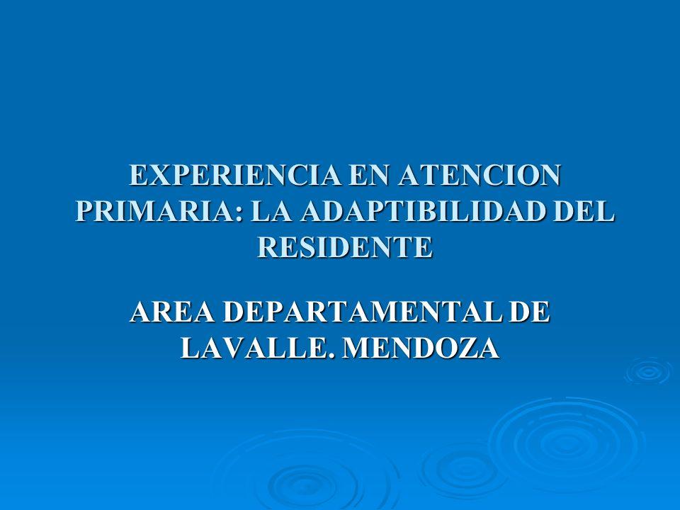 EXPERIENCIA EN ATENCION PRIMARIA: LA ADAPTIBILIDAD DEL RESIDENTE