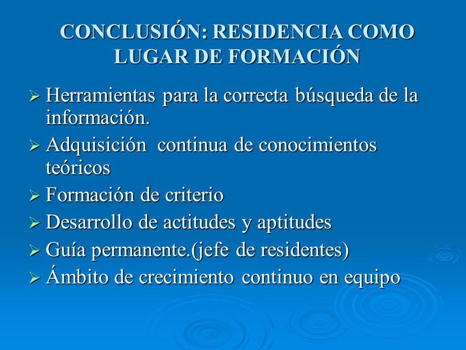 CONCLUSIÓN: RESIDENCIA COMO LUGAR DE FORMACIÓN