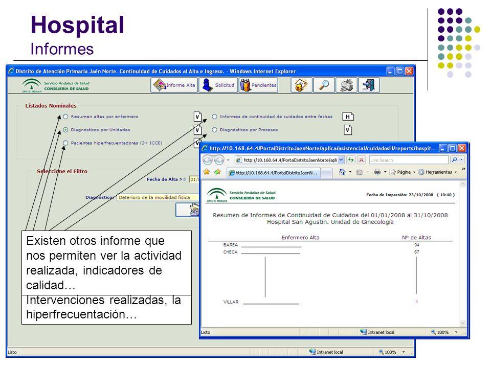 Hospital Informes En función del perfil del usuario, los informes se podrán obtener de su Unidad o bien de todo el Hospital.