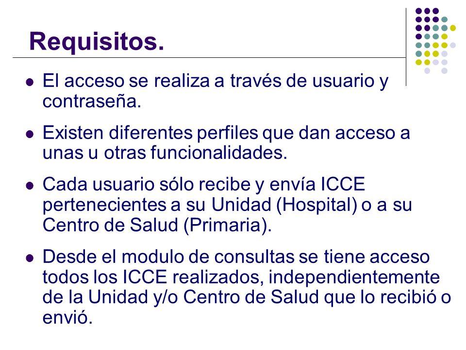 Requisitos. El acceso se realiza a través de usuario y contraseña.