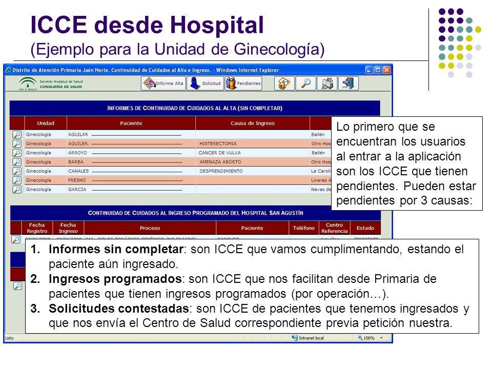 ICCE desde Hospital (Ejemplo para la Unidad de Ginecología)