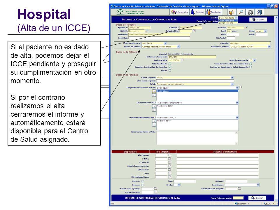 Hospital (Alta de un ICCE)