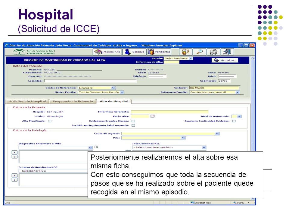 Hospital (Solicitud de ICCE)