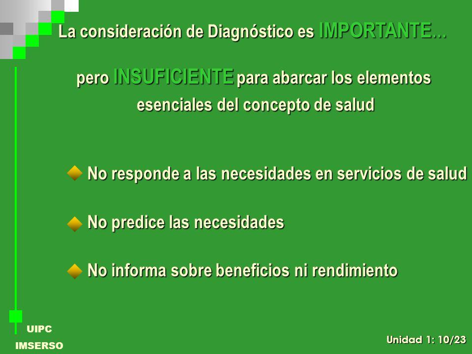 La consideración de Diagnóstico es IMPORTANTE…