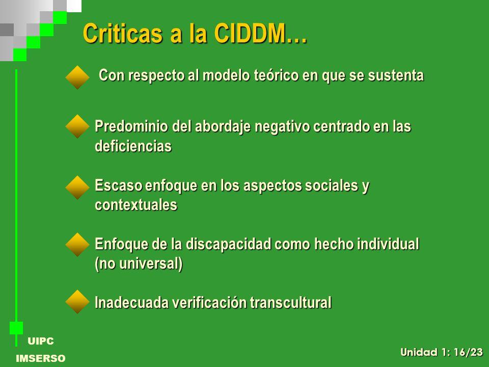 Criticas a la CIDDM… Con respecto al modelo teórico en que se sustenta