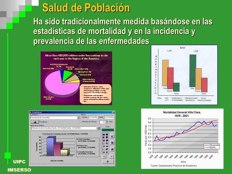 Salud de Población Ha sido tradicionalmente medida basándose en las estadísticas de mortalidad y en la incidencia y prevalencia de las enfermedades.