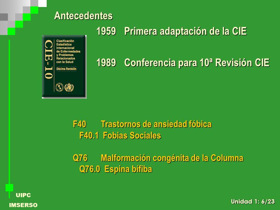 1959 Primera adaptación de la CIE