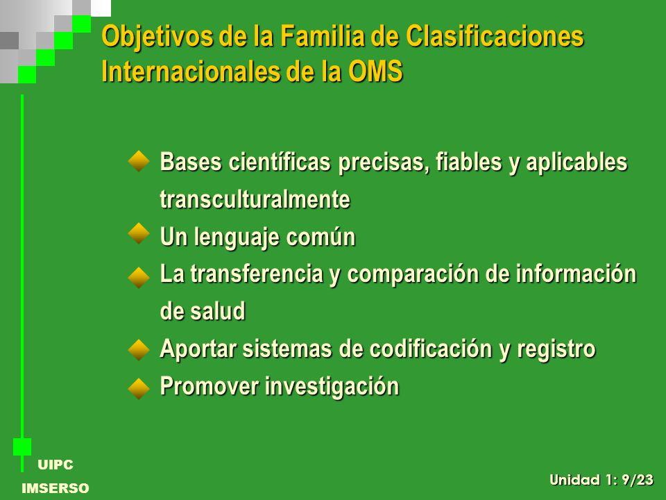Objetivos de la Familia de Clasificaciones Internacionales de la OMS