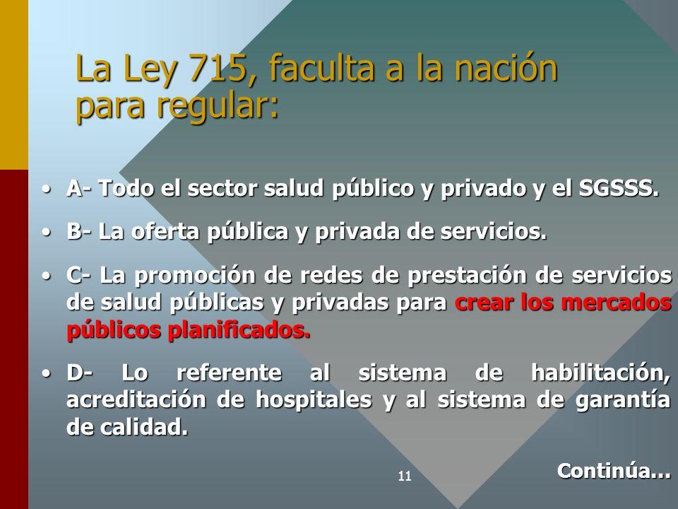 La Ley 715, faculta a la nación para regular: