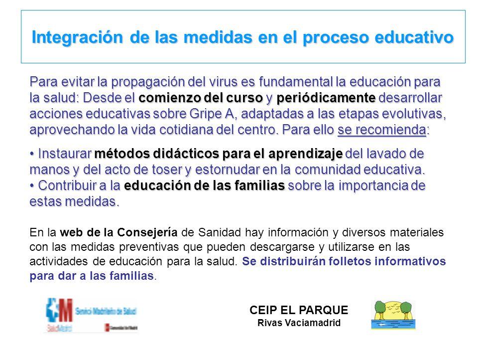 Integración de las medidas en el proceso educativo