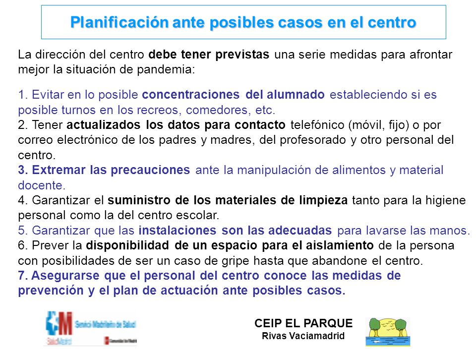 Planificación ante posibles casos en el centro