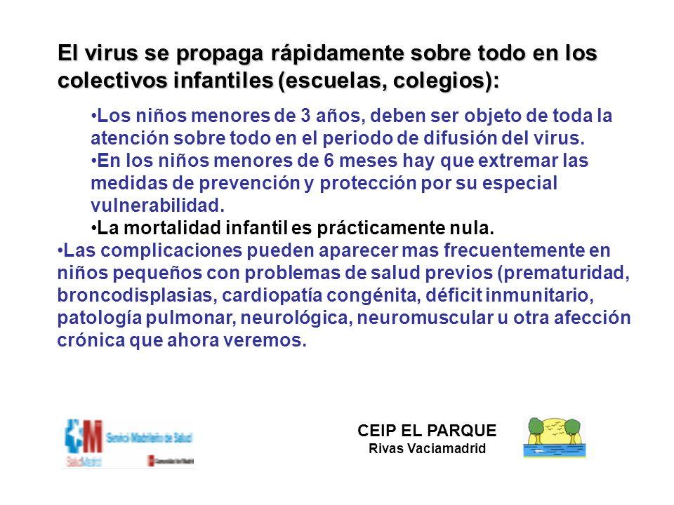 El virus se propaga rápidamente sobre todo en los colectivos infantiles (escuelas, colegios):