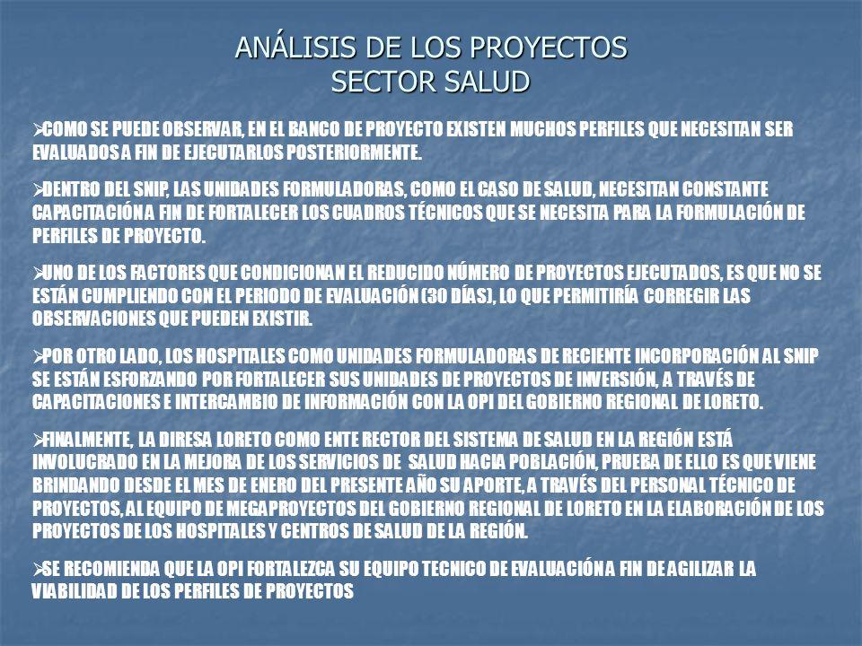 ANÁLISIS DE LOS PROYECTOS SECTOR SALUD