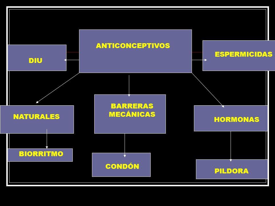 ANTICONCEPTIVOS ESPERMICIDAS DIU BARRERAS MECÁNICAS NATURALES HORMONAS BIORRITMO CONDÓN PILDORA