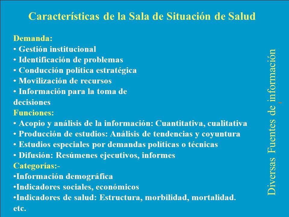 Características de la Sala de Situación de Salud