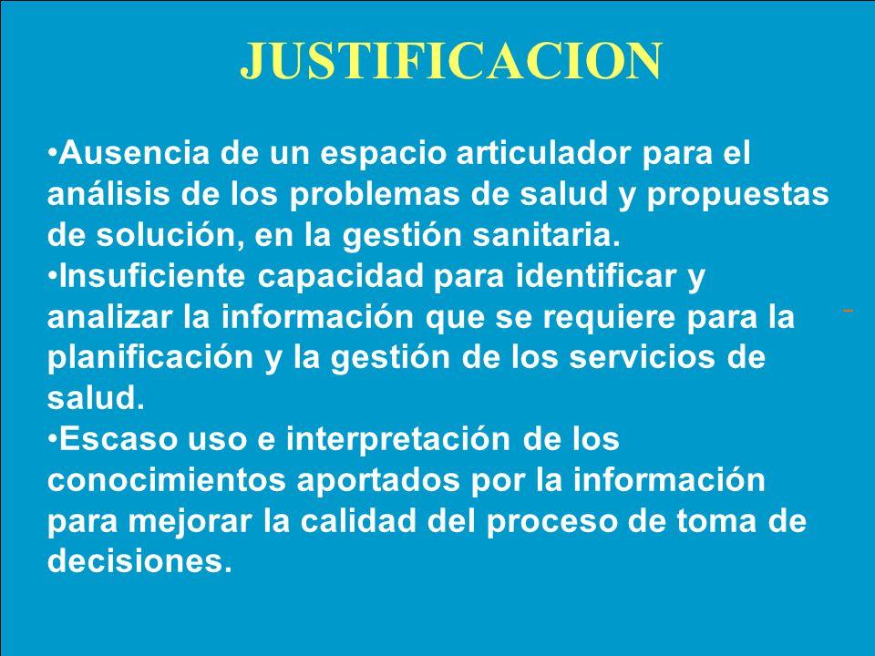 JUSTIFICACION Ausencia de un espacio articulador para el análisis de los problemas de salud y propuestas de solución, en la gestión sanitaria.