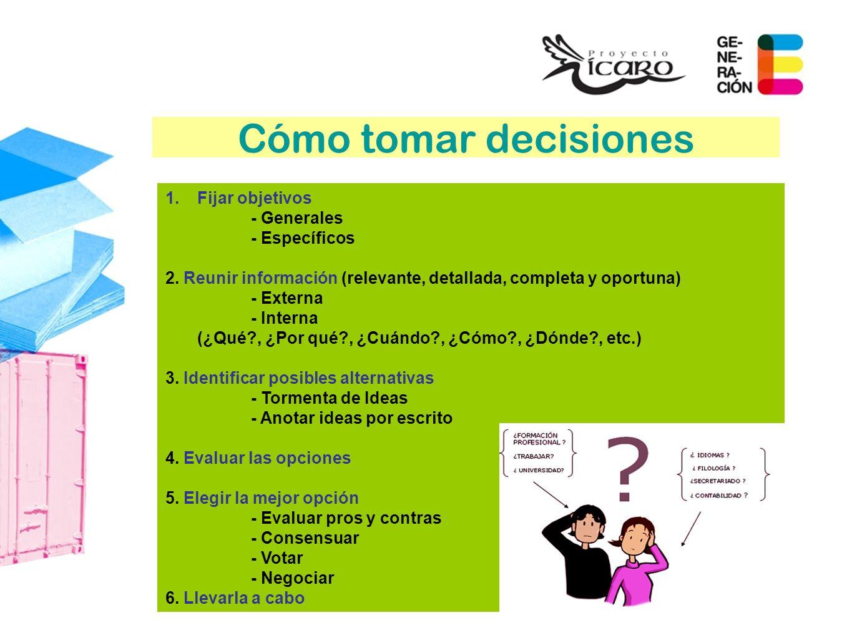 Cómo tomar decisiones Fijar objetivos - Generales - Específicos