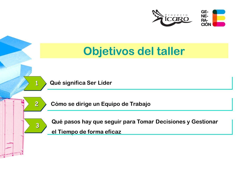 Objetivos del taller 1 2 3 Qué significa Ser Líder