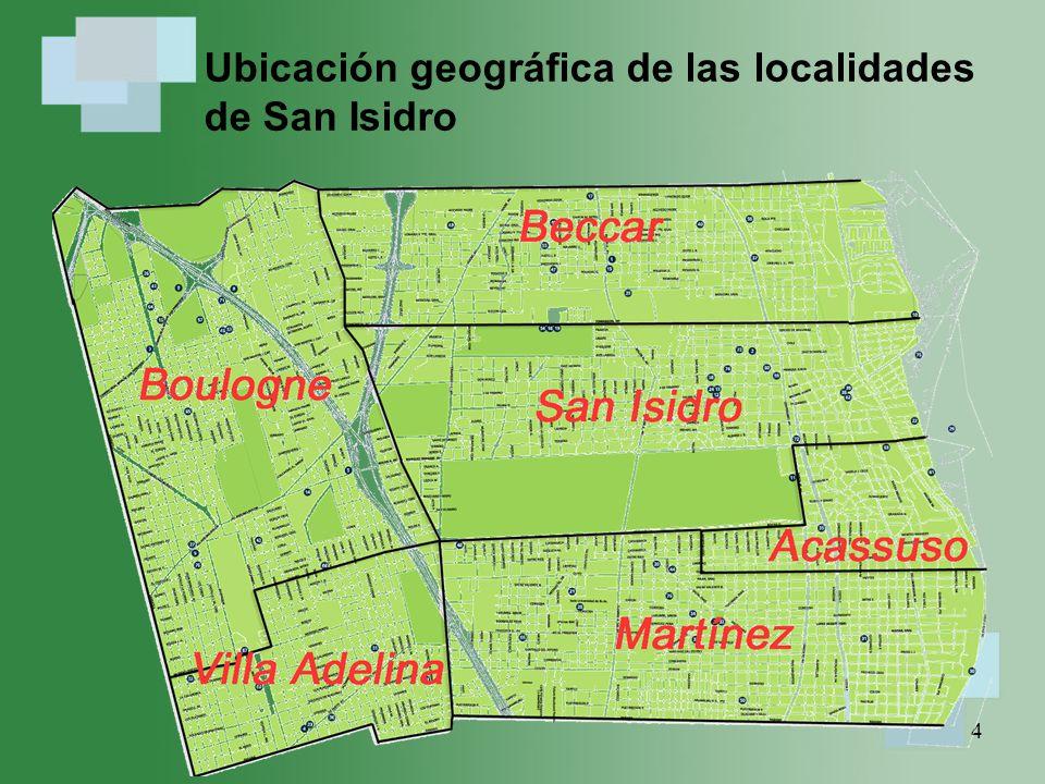 Ubicación geográfica de las localidades de San Isidro