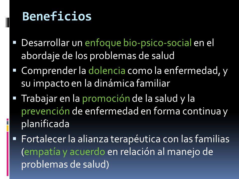 Beneficios Desarrollar un enfoque bio-psico-social en el abordaje de los problemas de salud.