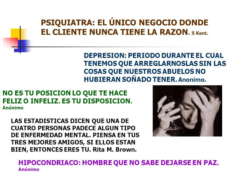 PSIQUIATRA: EL ÚNICO NEGOCIO DONDE EL CLIENTE NUNCA TIENE LA RAZON