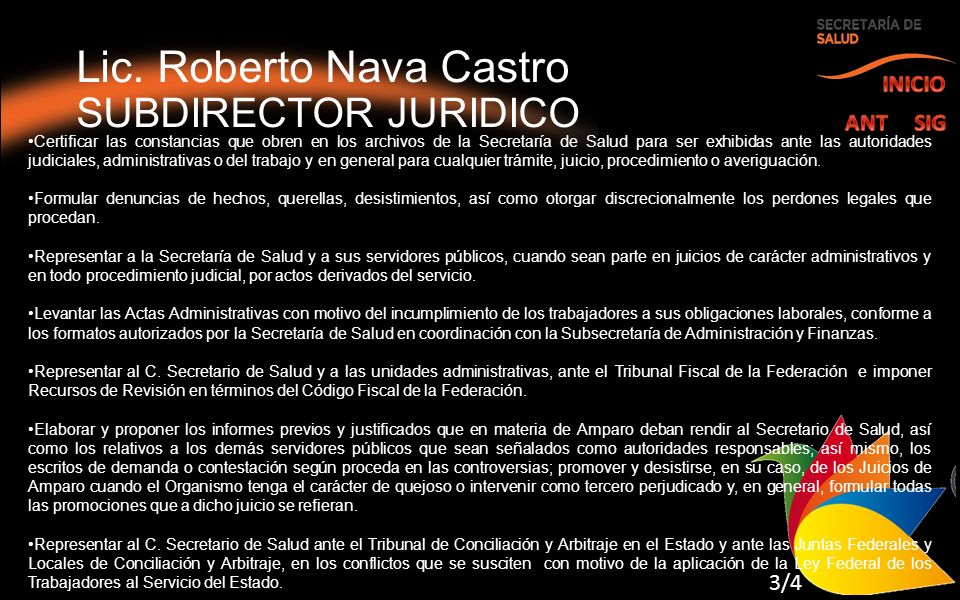 Lic. Roberto Nava Castro SUBDIRECTOR JURIDICO