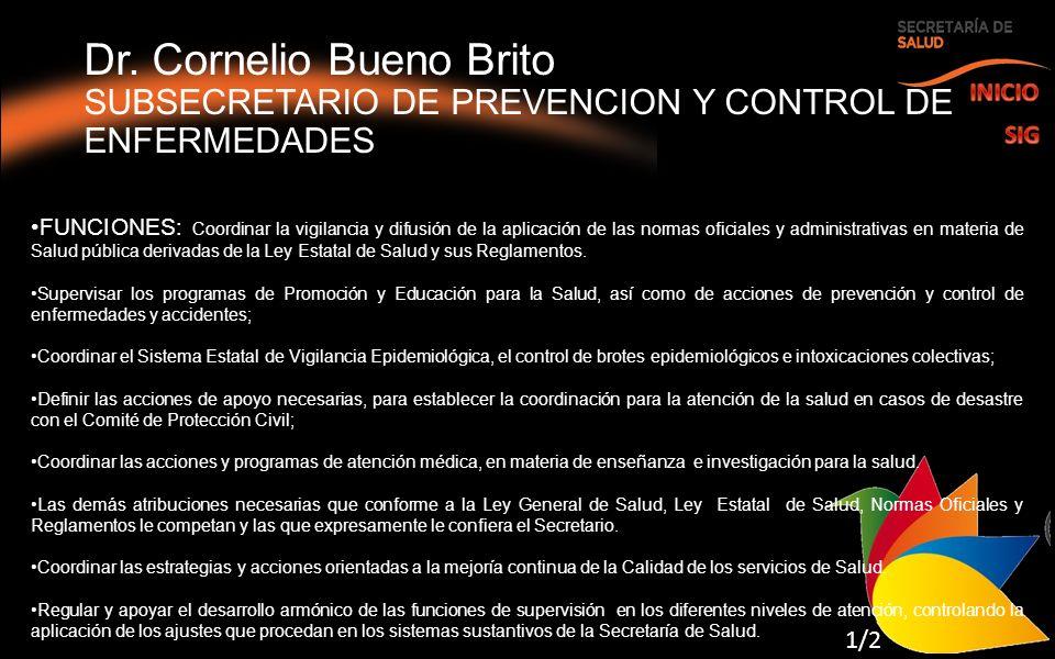 Dr. Cornelio Bueno Brito SUBSECRETARIO DE PREVENCION Y CONTROL DE ENFERMEDADES