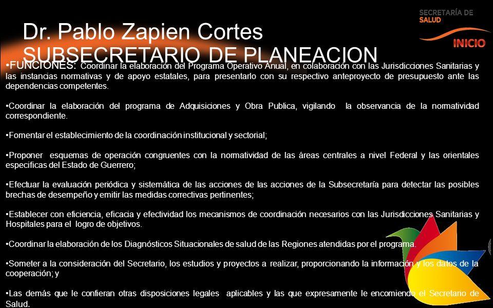 Dr. Pablo Zapien Cortes SUBSECRETARIO DE PLANEACION