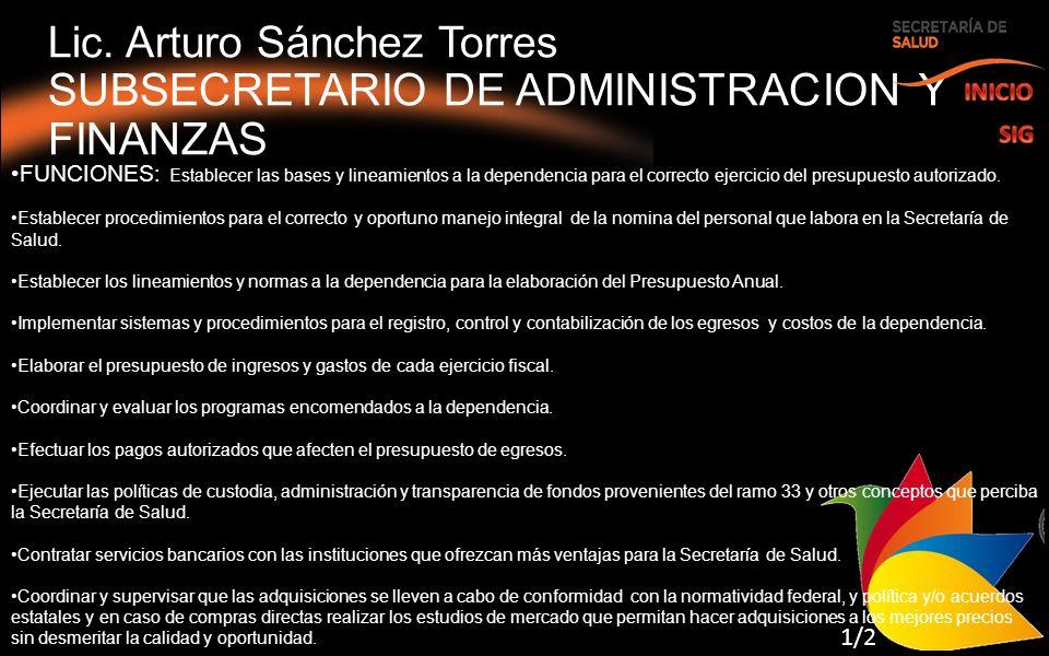 Lic. Arturo Sánchez Torres SUBSECRETARIO DE ADMINISTRACION Y FINANZAS