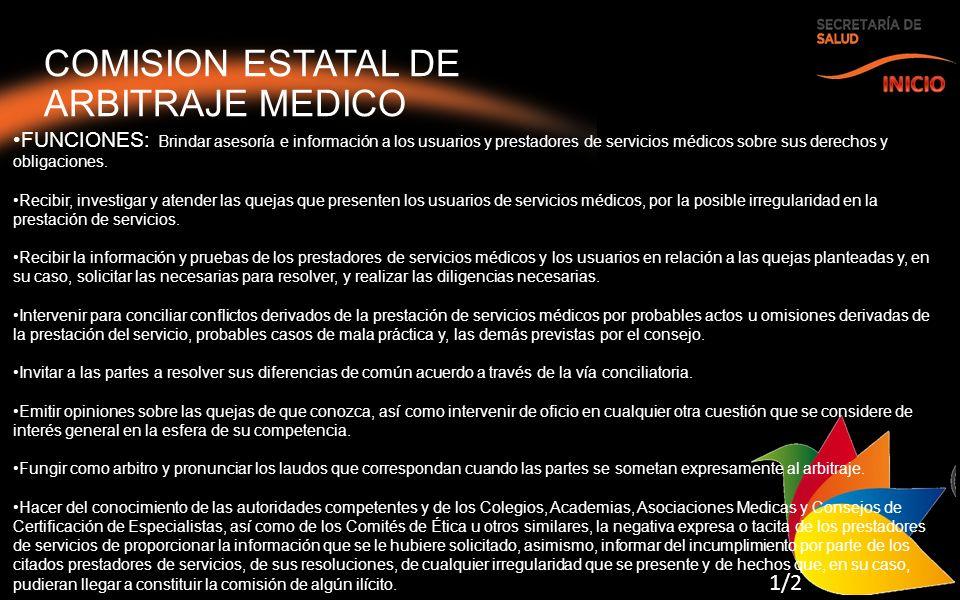 COMISION ESTATAL DE ARBITRAJE MEDICO INICIO 1/2