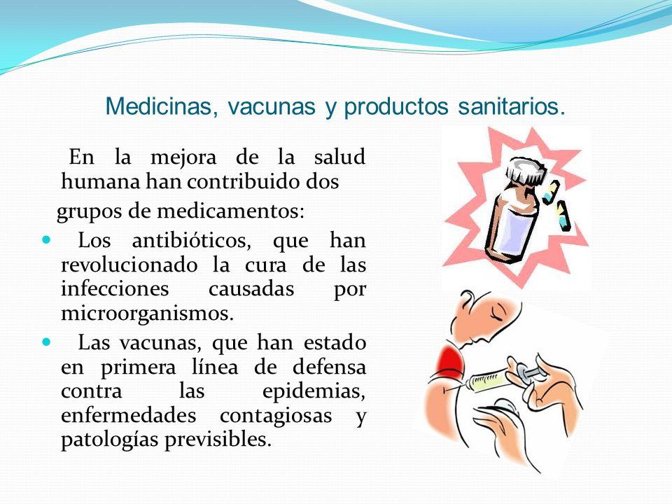 Medicinas, vacunas y productos sanitarios.