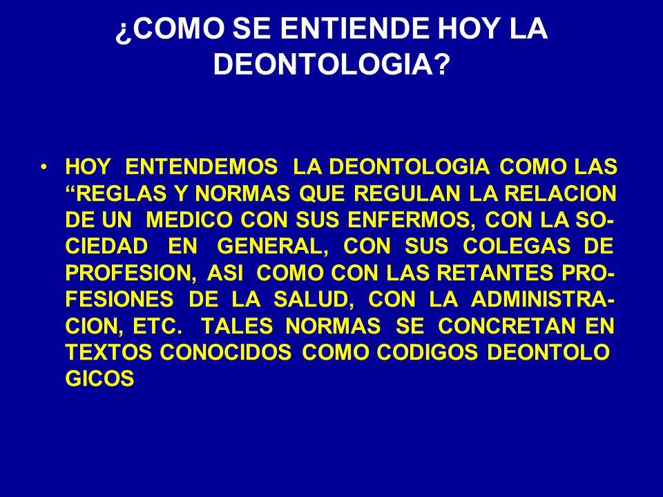 ¿COMO SE ENTIENDE HOY LA DEONTOLOGIA