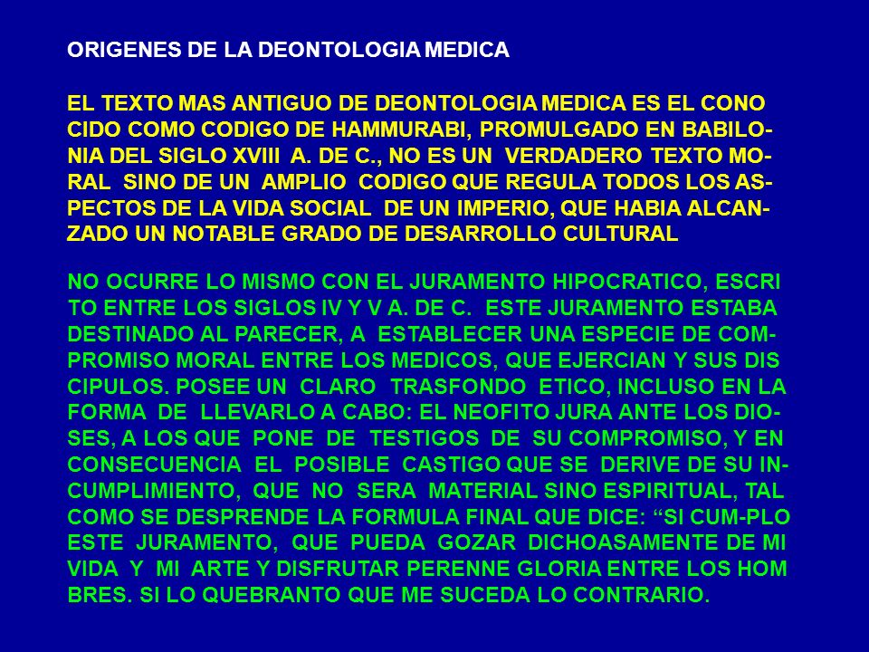ORIGENES DE LA DEONTOLOGIA MEDICA