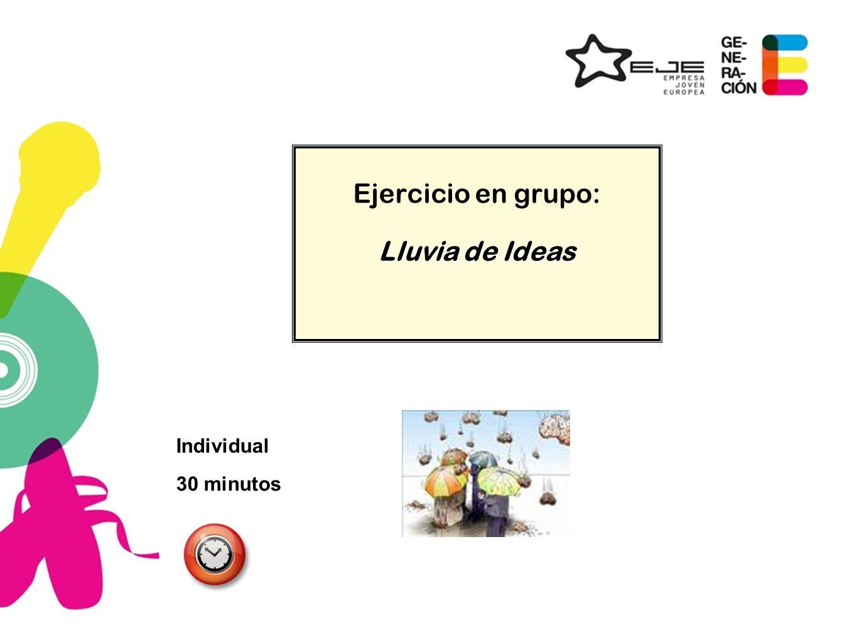 Ejercicio en grupo: Lluvia de Ideas Individual 30 minutos 11